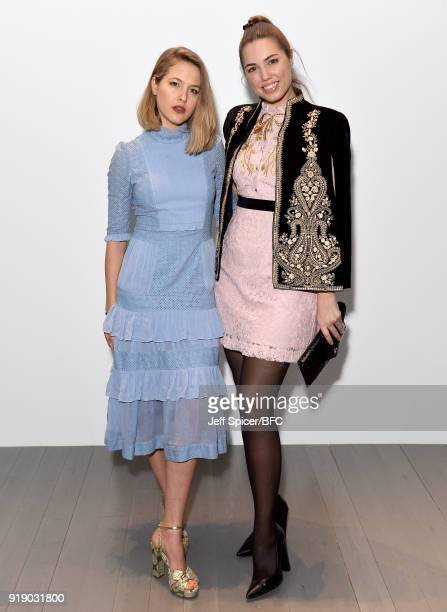 Tess Ward and Amber Le Bon attend the Bora Aksu show during London Fashion Week February 2018 at BFC Show Space on February 16 2018 in London England
