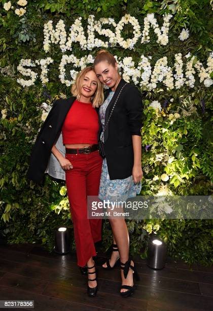 Tess Ward and Amber Le Bon attend the Maison StGermain opening night at 2 Soho Square on July 26 2017 in London England