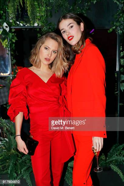 Tess Ward and Frankie Herbert attend a Valentine's dinner at The Living Room Champagne and Cocktail Bar by PerrierJouet at Restaurant Ours on...
