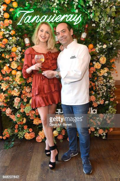 Tess Ward and Jose Pizarro attend the launch of new gin Tanqueray Flor de Sevilla in partnership with Jose Pizarro at Pizarro Restaurant on April 18...