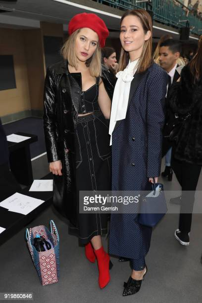 Tess Ward and Kelly Eastwood attend the Temperley London show during London Fashion Week February 2018 at on February 18 2018 in London England