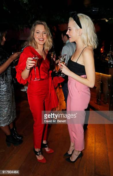 Tess Ward and Pixie Lott attend a Valentine's dinner at The Living Room Champagne and Cocktail Bar by PerrierJouet at Restaurant Ours on February 13...