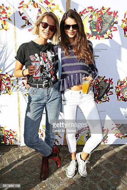 Tess Ward and Sarah Ann Macklin attend the Converse party at Notting Hill Carnival to celebrate the new carnival inspired Converse Custom Chuck...