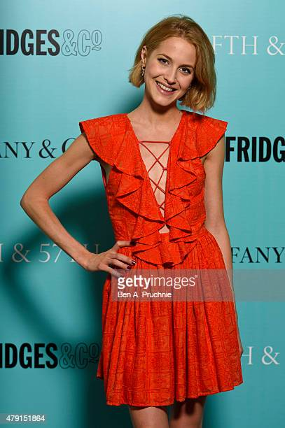 Tess Ward arrives at the Tiffany Co immersive exhibition 'Fifth 57th' at The Old Selfridges Hotel on July 1 2015 in London England