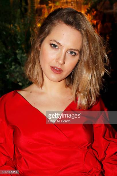 Tess Ward attends a Valentine's dinner at The Living Room Champagne and Cocktail Bar by PerrierJouet at Restaurant Ours on February 13 2018 in London...