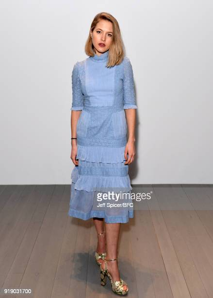 Tess Ward attends the Bora Aksu show during London Fashion Week February 2018 at BFC Show Space on February 16 2018 in London England