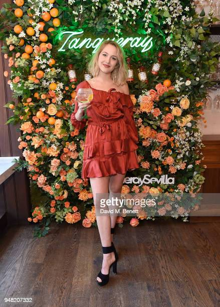 Tess Ward attends the launch of new gin Tanqueray Flor de Sevilla in partnership with Jose Pizarro at Pizarro Restaurant on April 18 2018 in London...