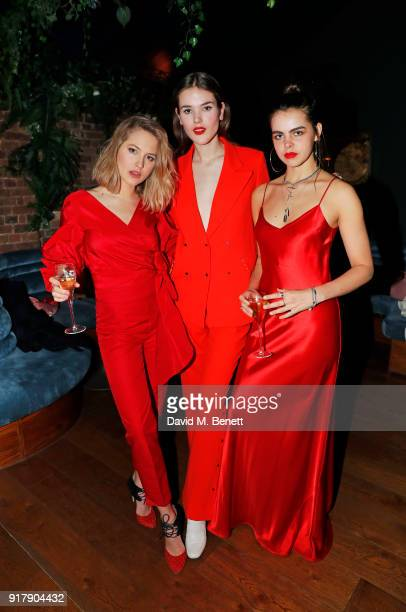 Tess Ward Frankie Herbert and Bee Beardsworth attend a Valentine's dinner at The Living Room Champagne and Cocktail Bar by PerrierJouet at Restaurant...