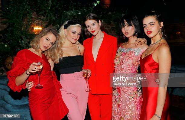 Tess Ward Pixie Lott Frankie Herbert Betty Bachz and Bee Beardsworth attend a Valentine's dinner at The Living Room Champagne and Cocktail Bar by...