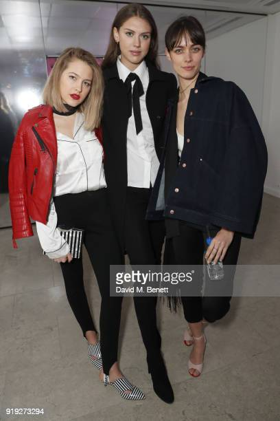 Tess Ward Sabrina Percy and Ellen Gibbons attend the Lulu Guinness AW18 London Fashion Week presentation on February 17 2018 in London England