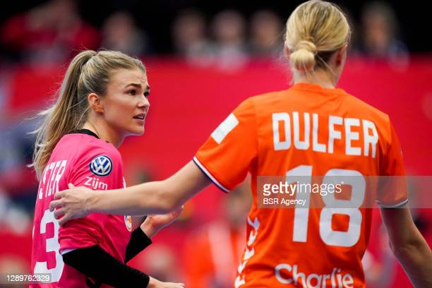 Tess Wester of Netherlands, Kelly Dulfer of Netherlands during the Women's EHF Euro 2020 match between Netherlands and Croatia at Sydbank Arena on...