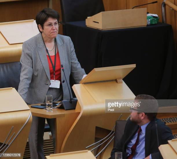 Tess White MSP Scottish Conservative attends First Minister's Questions in the debating chamber of the Scottish Parliament on September 02, 2021 in...