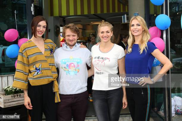 Tessa Bergmeier Paul Varga Nina Bott and Tanja Buelter attend the 2nd birthday of Playbrush with the nwe toothbrush launch on July 23 2017 in Hamburg...