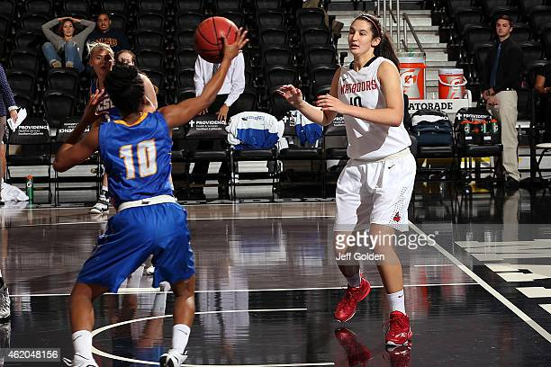 Tessa Boagni of the CSUN Matadors watches the steal by Onome Jemerigbe of the UC Santa Barbara Gauchos in the first half at The Matadome on January...