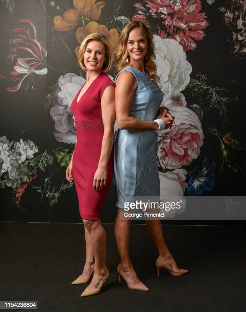 Tessa Bonhomme and Jennifer Hedger pose at the CTV Upfront Portrait Studio at Sony Centre For Performing Arts on June 06 2019 in Toronto Canada