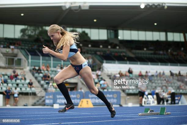 Tessa Constantine of NSW competes in the womens under 20s 400m hurdles on day three of the 2017 Australian Athletics Championships at Sydney Olympic...