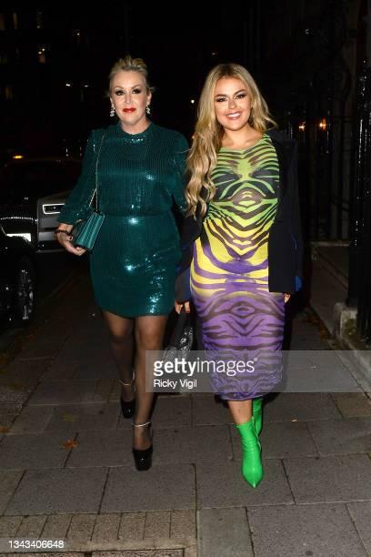 Tessa Hartmann and Tallia Storm seen attending Annabel's Quiz Night at Annabel's on September 27, 2021 in London, England.