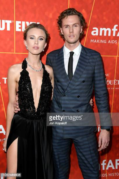 Tessa Hilton and Barron Hilton attend the amfAR Gala Los Angeles 2018 at Wallis Annenberg Center for the Performing Arts on October 18 2018 in...