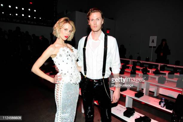 Tessa Hilton and Barron Hilton II attend The Blonds front row during New York Fashion Week: The Shows at Gallery I at Spring Studios on February 12,...
