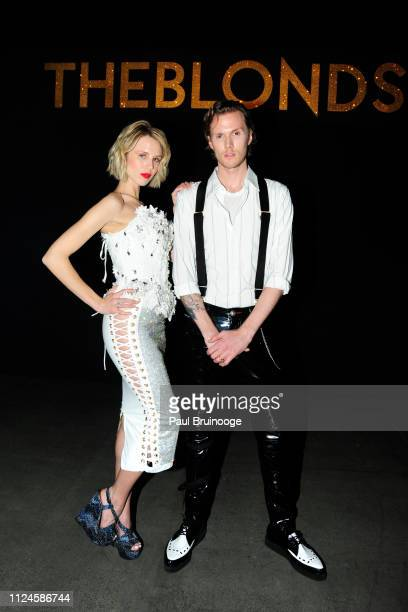 Tessa Hilton and Barron Hilton II attend the The Blonds front row during New York Fashion Week: The Shows at Gallery I at Spring Studios on February...