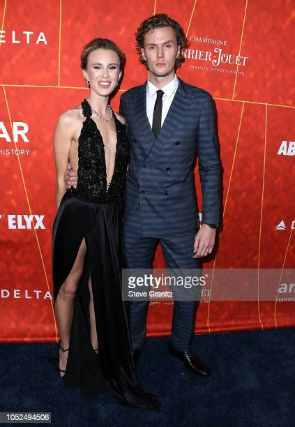 Tessa Hilton;Barron Hilton arrives at the amfAR Gala Los Angeles 2018 at Wallis Annenberg Center for the Performing Arts on October 18, 2018 in...