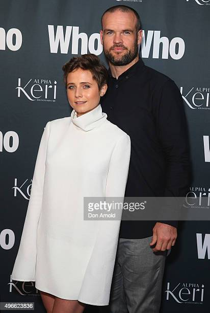 Tessa James and Nate Myles arrive ahead of WHO Australia's Most Intriguing People 2015 party at Ananas on November 11 2015 in Sydney Australia