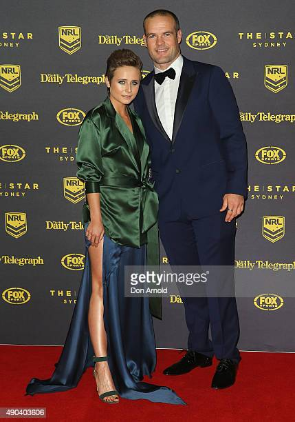 Tessa James and Nate Myles arrive at the 2015 Dally M Awards at Star City on September 28 2015 in Sydney Australia