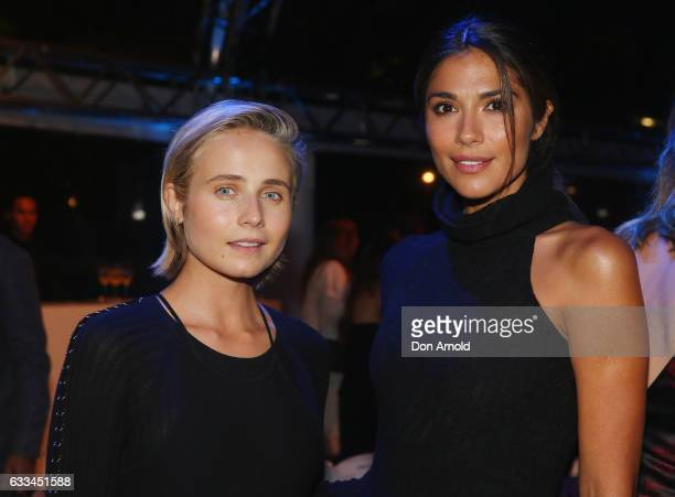 Tessa James and Pia Miller pose just after the runway show at the David Jones Autumn Winter 2017 Collections Launch at St Mary's Cathedral Precinct...