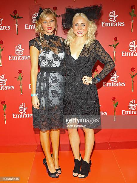 Tessa James and Samara Weaving arrive at AAMI Victoria Derby Day at Flemington Racecourse on October 30 2010 in Melbourne Australia