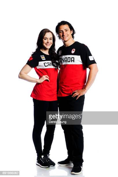 Tessa Jane McCormick Virtue and Scott Patrick Moir pose for a portrait during the Canadian Olympic Committee Portrait Shoot on June 3 2017 in Calgary...