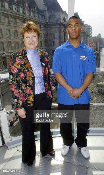 Tessa Jowell and JeanRene Badrick during Youngsters Win Olympic Funding Photocall at London Eye in London Great Britain