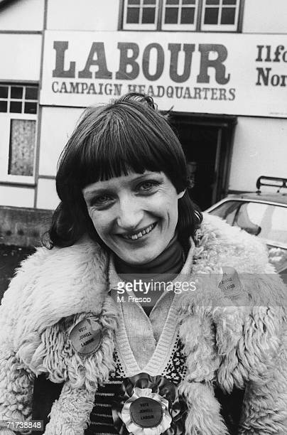 Tessa Jowell the Labour Party candidate in the Ilford North byelection outside the Labour Campaign Headquarters February 1978