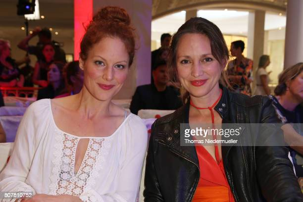 Tessa Mittelstaedt and Nike Fuhrmann attend the Anja Gockel show during the MercedesBenz Fashion Week Berlin Spring/Summer 2018 at Hotel Adlon on...