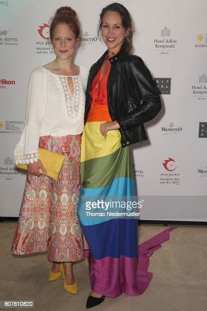 Tessa Mittelstaedt and Nike Fuhrmann attend the Anja Gockel show during the Mercedes-Benz Fashion Week Berlin Spring/Summer 2018 at Hotel Adlon on...