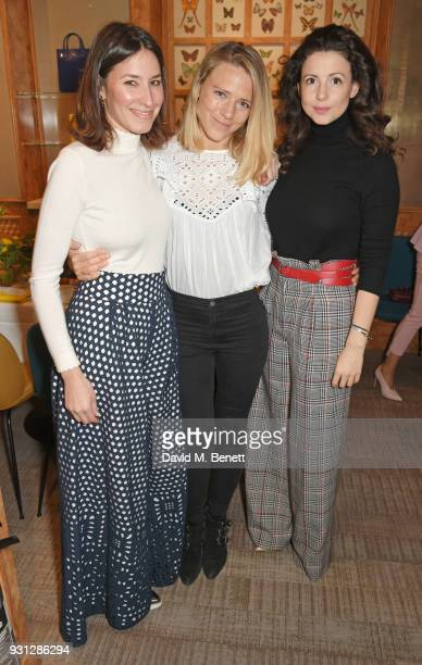 Tessa Packard Sophie Moss and Shirley LeighWood Oakes attend the Espie Roche launch breakfast at The Chess Club on March 13 2018 in London England