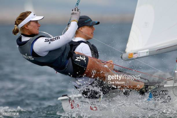 Tessa Parkinson and Belinda Stowell of Australia in action during a 470 Womens Class race during day four of the Weymouth and Portland International...