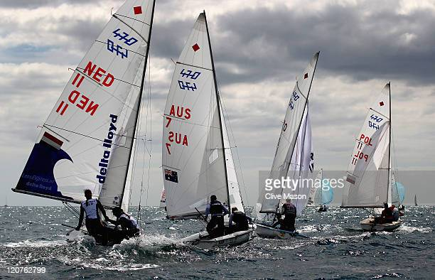 Tessa Parkinson and Belinda Stowell of Australia in action during a 470 Womens Class race during day eight of the Weymouth and Portland International...