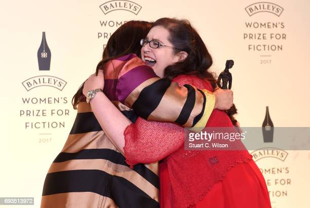 Tessa Ross chair of judges hugs author Naomi Alderman as she wins the 2017 Bailey's Women's Prize for Fiction for her novel 'The Power' at the Royal...