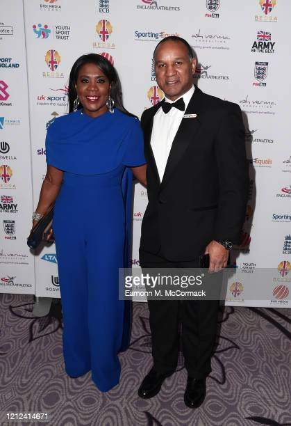 Tessa Sanderson and Densign White attend the British Ethnic Diversity Sports Awards 2020 at London Hilton on March 14 2020 in London England