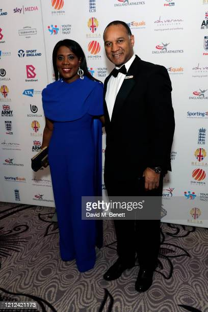 Tessa Sanderson and Densign White attend the British Ethnic Diversity Sports Awards 2020 at the Hilton Park Lane on March 14 2020 in London England