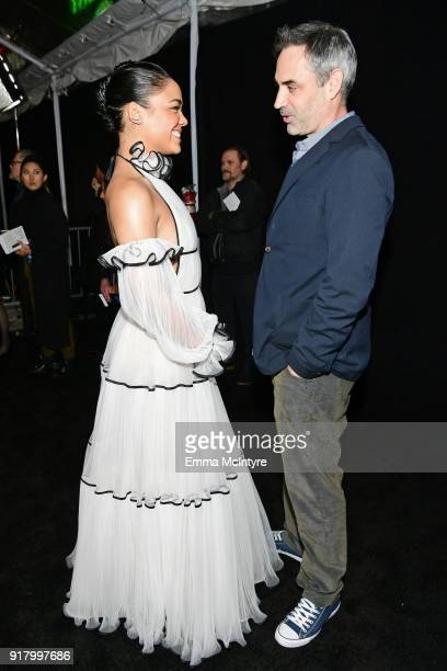 Tessa Thompson and Alex Garland attend the premiere of Paramount Pictures' 'Annihilation' at Regency Village Theatre on February 13 2018 in Westwood...