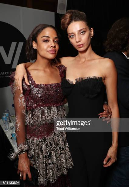 Tessa Thompson and Angela Sarafyan at Entertainment Weekly's annual ComicCon party in celebration of ComicCon 2017 at Float at Hard Rock Hotel San...