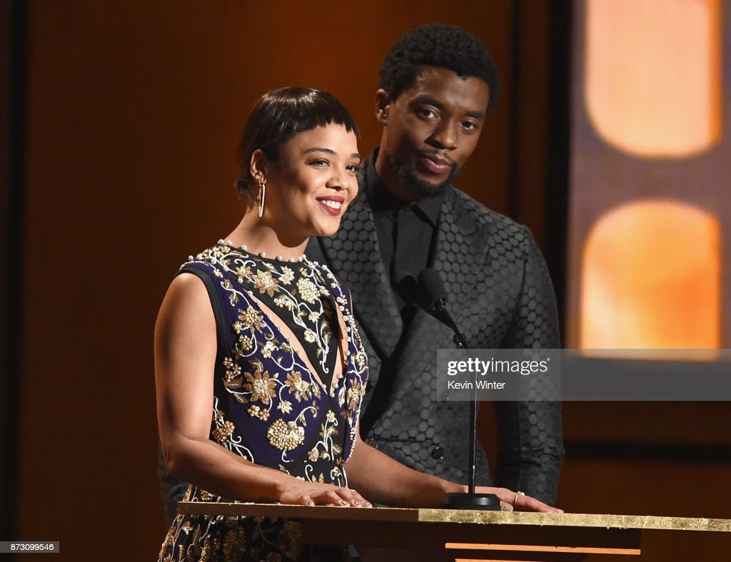 Tessa Thompson and Chadwick Boseman speak onstage at the Academy of Motion Picture Arts and Sciences' 9th Annual Governors Awards at The Ray Dolby Ballroom at Hollywood & Highland Center on November 11, 2017 in Hollywood, California.