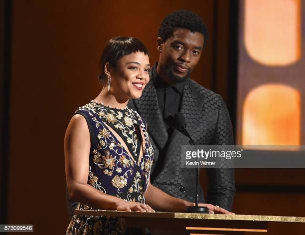 Tessa Thompson and Chadwick Boseman speak onstage at the Academy of Motion Picture Arts and Sciences' 9th Annual Governors Awards at The Ray Dolby...