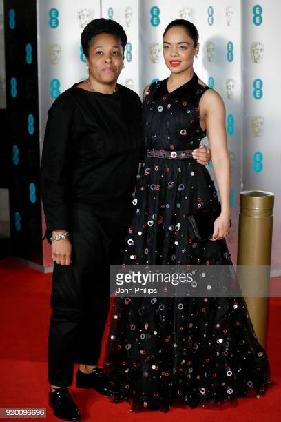 Tessa Thompson and guest attend the EE British Academy Film Awards gala dinner held at Grosvenor House on February 18 2018 in London England