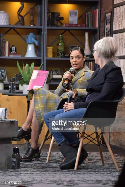 Tessa Thompson and Jane Campion speak onstage at the Cinema Cafe 8 during 2019 Sundance Film Festival at Filmmaker Lodge on February 01 2019 in Park...