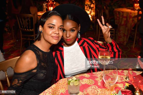 Tessa Thompson and Janelle Monae attend the HBO's Official 2017 Emmy After Party at The Plaza at the Pacific Design Center on September 17 2017 in...