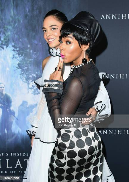 Tessa Thompson and Janelle Monae attend the Los Angeles premiere 'Annihilation' at Regency Village Theatre on February 13 2018 in Westwood California