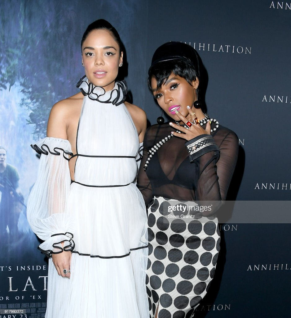 Tessa Thompson and Janelle Monae attend the premiere of Paramount Pictures' 'Annihilation' at Regency Village Theatre on February 13, 2018 in Westwood, California.