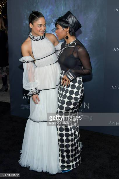 Tessa Thompson and Janelle Monae attend the premiere of Paramount Pictures' 'Annihilation' at Regency Village Theatre on February 13 2018 in Westwood...